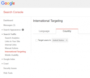 Screenshot of targeting options in Google Search Console