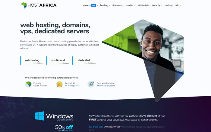 Screenshot of Host Africa's homepage
